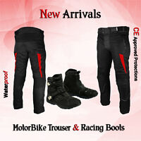 Black Waterproof CE Armoured Motorcycle / Motorbike Trousers Biker Leather Shoes