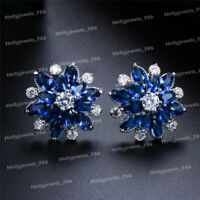 1.00 TCW Round Cut Sapphire & Diamond Flower Stud Earrings 14k White Gold Over