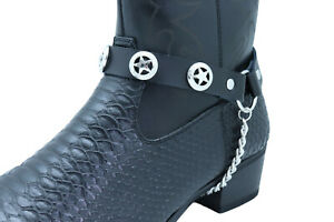 Biker Men Western Boot Silver Metal Chain Black 2 Straps Texas Lone Star Charms