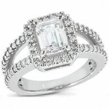 1.85 carat GIA 1 ct Emerald cut Diamond G VS1 14k Gold Vintage style Halo Ring
