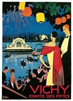 Vichy Vintage European Art Deco Poster Rolled Canvas Print 24x32 in.