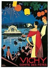 VICHY, Vintage Art Deco Poster Rolled CANVAS ART PRINT 24x32 in.
