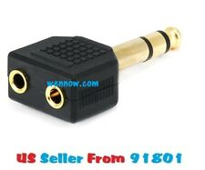 2pc 1/4in (6.35mm) TRS Stereo Plug to 2x 3.5mm TRS Stereo Jack Splitter Adapter