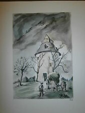 Gravure moulin a vent par P. Valade Moulin de Bénesse les dax Landes