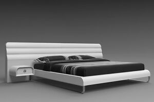 """76"""" W King bed Wall headboard 2 nightstands White glossy Stainless steel Modern"""