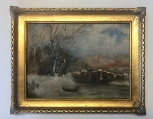 Early American Winter River Landscape Original Oil Painting Gold Pie Crust Frame