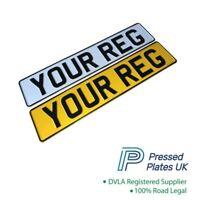 Set of PRESSED NUMBER PLATES Metal Car Registration Plate Embossed Reg 3D DVLA