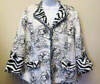 New Berek For Travelsmith Womens L Black White Floral Fringed Jacket Blazer