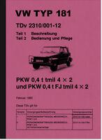 VW Kübelwagen Typ 181 Bedienungsanleitung Betriebsanleitung Handbuch Kubelwagen