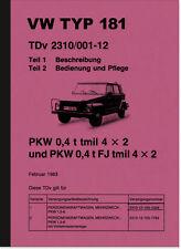 VW Kübelwagen Typ 181 Bedienungsanleitung Betriebsanleitung Handbuch Kurierwagen
