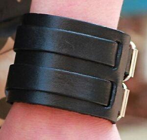 FAUX LEATHER STEAMPUNK WRISTBAND WRIST STRAP BAND BRACELET BLACK BROWN A84 A85