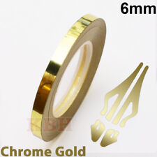 "6mm Self Adhesive Coachline Pin Stripe Vinyl Tape Craft Sticker 1/4"" CHROME GOLD"