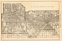 1919 Antique MINNEAPOLIS Street Map City Map of St Paul Minnesota 7314