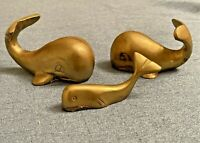 3 Vintage Brass WHALE Paperweight Figure Figurine Nautical Decorative India