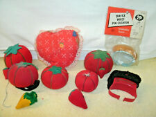 Vintage Lot of Pin Cushions [10]  Tomatoes/Strawberry's/ Dritz Wrist/Heart--Used