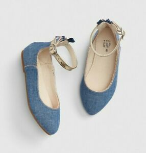 Baby Gap Girl's Blue Chambray Ankle Strap Ballet Flat Shoes 7 Toddler NWT
