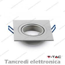 Portafaretto orientabile da incasso per 1 faretti V-TAC VT-782 quadrato bianco