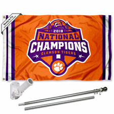 Clemson Tigers 2018 National Champions Flag Pole and Bracket Gift Set Package
