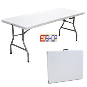 Tavolo in resina 180x75 pieghevole richiudibile a valigetta da giardino esterno
