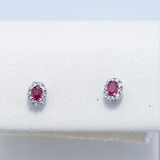 orecchini in oro bianco 750% con rubini e diamanti taglio brillante naturali