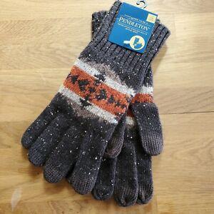 NEW Pendleton Cross Design  Wool Gloves XL Gray/Orange/Cream