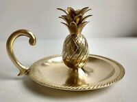 Vintage Solid Brass Pineapple Chamberstic Candleholder with Handle VERY NICE