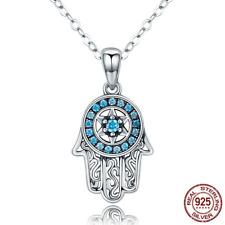 Retro 925 Sterling Silver Chains With Blue CZ Fatima Hand Long Necklaces Pendant