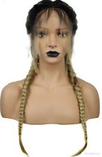 Fashion Synthetic Baby Hair Braided Lace Front Wig Long Black Ombre Blonde Wigs