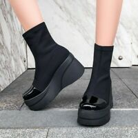 Womens Stretch Black Sock Boots High Wedge Platform Round Toe Pull On lady Shoes