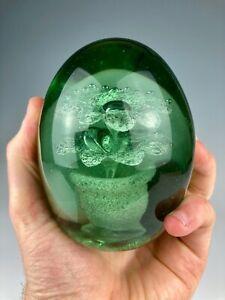 V. FINE ANTIQUE VICTORIAN EMERALD GREEN HEAVY DUMP GLASS FLOWERPOT PAPERWEIGHT
