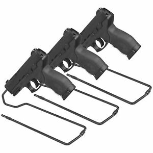 Handgun Stand Rack Pistol Set of 3 Gun Vinyl Coat Metal Safe Storage Solution
