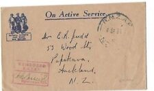 1944 R.N Z. A. F. On Active Service to Auckland New Zealand WWII APO 328, Censor