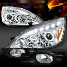 For 06-07 Accord 2DR Chrome LED Halo Projector Headlights+Clear Bumper Fog Lamps