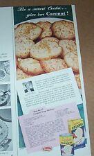1949 print ad - Durkee's Coconut Drop Cookies recipe Virginia Coates Glidden AD