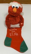 ELMO Sesame Street Musical Christmas Red White Chimney Stocking