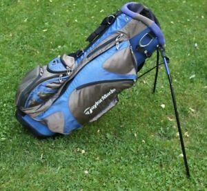 """TaylorMade 35"""" TM TK Carry Golf Bag w/ Stand, blue black, 5 way, Shoulder Straps"""
