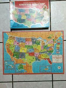 1975 United States Map on Wood Milton Bradley Puzzle #4264 World Map on Back