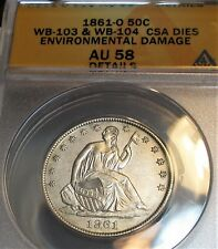 1861-O CSA SEATED LIBERTY HALF DOLLAR 50c WB-103 & WB-104 ANACS AU58 RARE COIN.