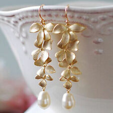 Fashion Women Gold Orchid Matte Flower Pearl Long Dangle Hook Earrings Jewelry