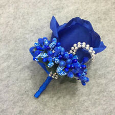 1 Pcs Rose Bouton Corsage Bride Groom Brooch Simulated Silk Flower Wedding Decor