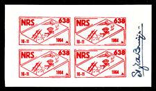 MNH NETHERLANDS MINI SHEET OF 4 LABELS - NRS 638 ROCKET/PARACHUTE SIGNED
