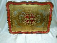 Antique Gold Finish & Red Wooden Tray w. Ornate Floral Designs (Made in Italy)