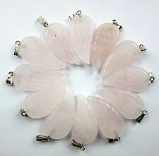 12PCS 30x16x6mm rose quartz carved wing pendant bead Vk5506