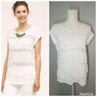 NWT ANTHROPOLOGIE AKEMI+KIN LATTICE LACE STRIPE TEE SHIRT KNIT TOP WHITE S SMALL