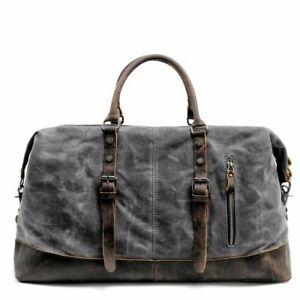 Large Capacity Men Hand Luggage Bag Canvas Leather Shoulder Travel Duffel Bags