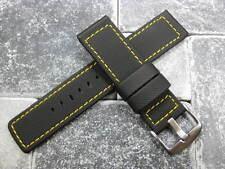 22mm HQ PVC Rubber Diver Strap Black Watch Band PAM Maratac Yellow