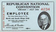 1960 Richard Nixon Chicago Republican Convention Employee Ticket (1255)