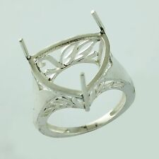 Semi Mount 16 MM Trillion Shape Ring 925 Silver With Rhodium Plated Top Jewelry