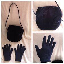Helena Girls Blue Velvet Hand Muff Warmer with Shoulder Strap + Gloves Cute