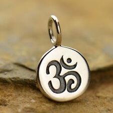 925 argento Sterling Charm OHM OM Tiny DISCO gioielli Yoga Ciondolo Spirituale 646